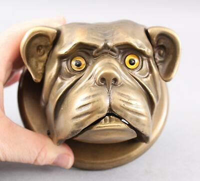 Antique German Bronze BULLDOG Mechanical Clockwork Hotel Service Counter Bell