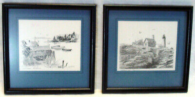 Vintage PENCIL SKETCH PRINTS by Clifford Thurber NEW HARBOR & PEMAQUID POINT ME
