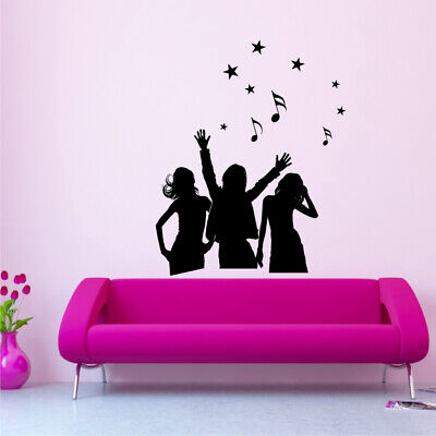 DANCERS SILHOUETTE woman girl dancer music bedroom sticker wall art stickers