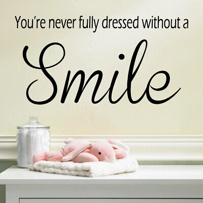 SMILE wall quote decal living room bedroom happy sayings wall stickers