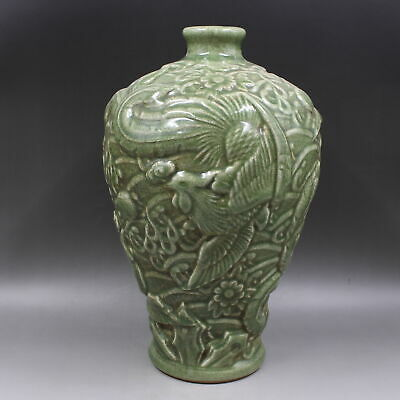Chinese ancient antique hand make Flower and bird  Phoenix pattern vase a795