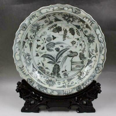 Chinese ancient antique hand make Flower and Bird Patterns Porcelain plate a802