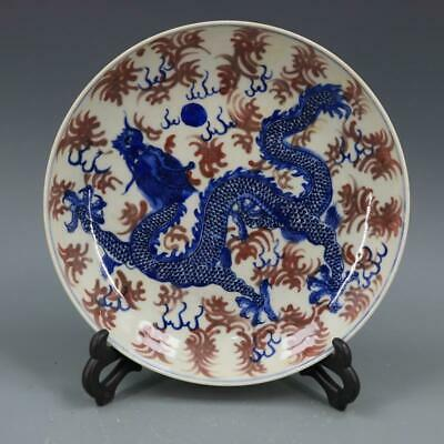 Chinese ancient antique hand make Dragon pattern plate a815