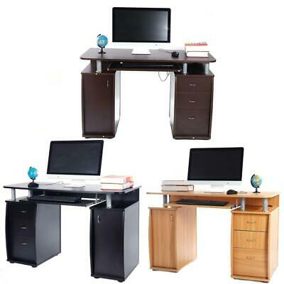 Coner Computer Desk Office Study PC Writing Table Home Furniture w/ 3 Drawers