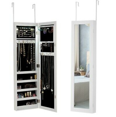 Wall Door Mounted Mirrored Jewelry Cabinet Armoire Storage Organizer White LED/L