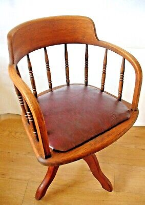 Old antique Oak Spindle Back Smokers Bow Captains office desk swivel chair