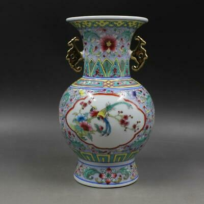 Chinese ancient antique hand make Flower and bird vase a845