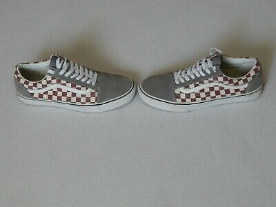 Vans Off The Wall Mens Grey Suede Red White Check Shoes Trainers Uk 9