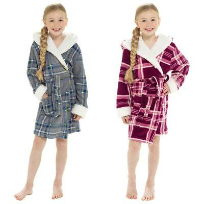 Girls Check Print Hooded Fleece Robe / Dressing Gown with Sherpa Trim 7-13 yr