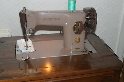 Vintage Singer Sewing Machine 201K In Wooden Cabinet Heavy Duty Red S Badge