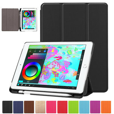 Smart Leather Stand Case Cover With Pencil Holder For Apple iPad 9.7 2018 2017
