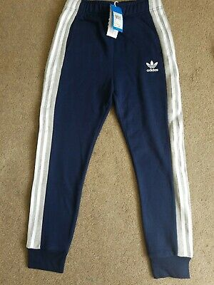 BNWT Adidas Joggers Navy Blue Grey White Stripe Fleece Lined Age 12-13