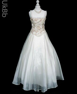 Vintage 1990s Wedding Dress 12 Gold Embroidered Victorian Princess Halloween