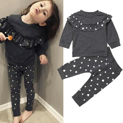Lovely Toddler Baby Girls Outfits Clothes Gray T-shirt Tops+Pants Leggings Set