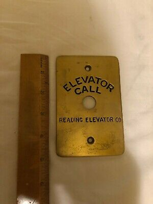 Vintage Brass Elevator Call Reading Elevator Plate
