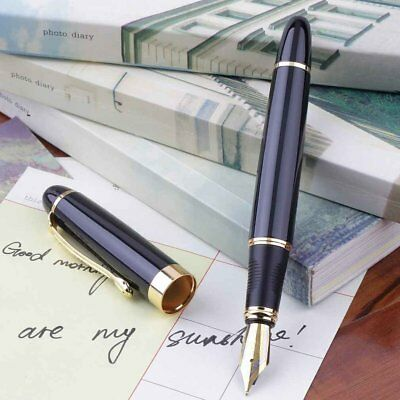 Jinhao X450 Fountain Pen Black Mordern Medium Nib Gold Trim New Perfect lN