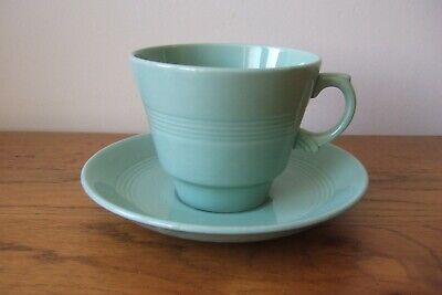 Vintage Woods Ware Beryl Green Large Breakfast Cup & Saucer Retro Utility