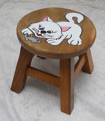 Child's Wooden Stool - White Cat & Mouse - 4 Legs - Hand Crafted -