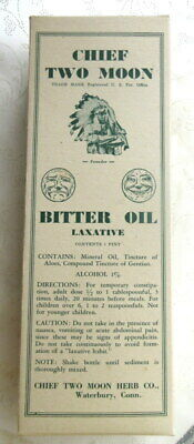 CHIEF TWO MOON BITTER OIL LAXATIVE BOX ONLY 1939 Vintage Drug Store Buy Out