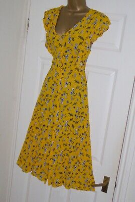 Mustard floral summer festival vintage repro 40s 50s party tea dress size 6 8