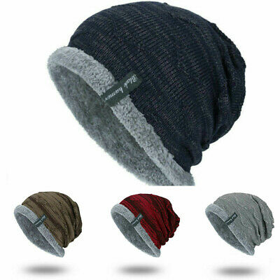 Striped Knit Slouchy Cap Beanie Soft Winter Toboggan Men's Work Ribbed Warm Hat