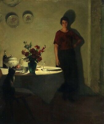 Marcel Rieder (1852-1932) Signed French Oil Woman In Interior With Cat - Evening