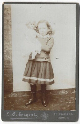 CABINET CARD Photograph Victorian Girl with Toy Doll by Sargent of Bow