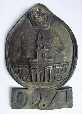 Antique Early 19th FIRE MARK English CHURCH Cast INSURANCE FIREMARK PLAQUE SIGN