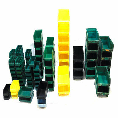 (Lot of 96) Asst. Green, Yellow Stackable Storage Bins Lewis Systems, Duralene