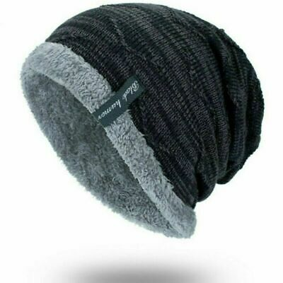 Knit Cap Soft Work Warm Striped Ribbed Hat Men's Slouchy Winter Beanie