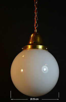 Vintage 1940s art deco school house large Opaline milk glass globe shade light