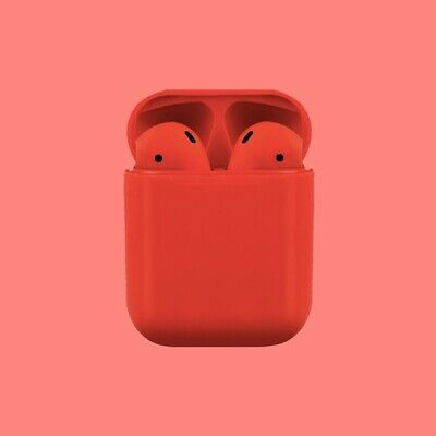 NEW Elite Grade Airpods Style Headphones Wireless Earbuds With Charging Case RED