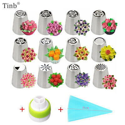 Russian Tulip Icing Nozzle Set 14pc Piping Nozzles Stainless Steel Flower Cream