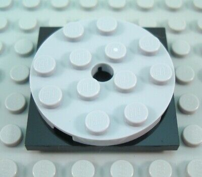 LEGO Turntable 4x4 Square Black Base Light Bluish Gray round Top Lot of 2