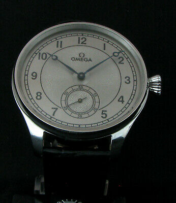 OMEGA ANTIQUE 1924 Deco Large Steel Wristwatch EXHIBITION BACK