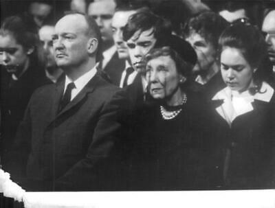 Vintage photograph of Funeral of Dwight D. Eisenhower with her wife Mamie and so