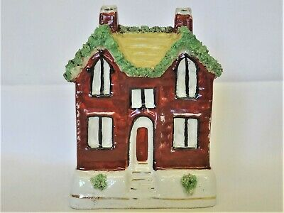 Antique Victorian Staffordshire Double Fronted COTTAGE MONEY BOX Bank