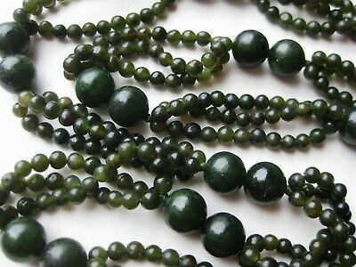"Vintage Chinese Carved Green Spinach Jade 28"" Long Beaded Necklace 72g"