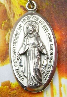 Nun's Lourdes Pilgrimage Smiling Mary CREED Sterling Catholic Miraculous Medal