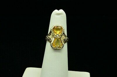Antique 14K White Gold Citrine Ring With Interesting Carved Design Sz4.5 Gold831