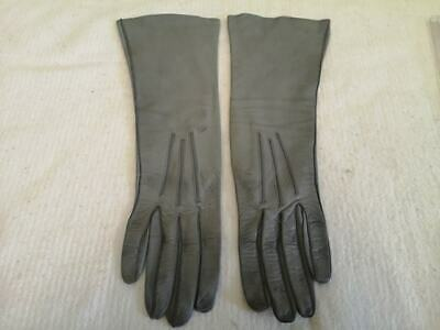 Vintage Ladies Long Leather Gloves. Grey. Size 7. 5 Lovely & Soft. 1960s