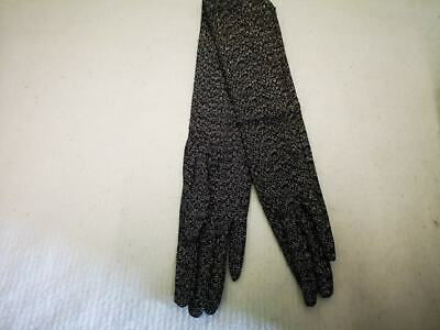 Vintage Ladies 'Shave of London' Long Stretch Gloves. Black & Gold- Size 7 1960s