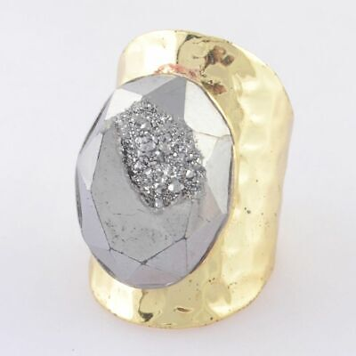 Size 6.5 Natural Agate Titanium Druzy Faceted Ring Gold Plated T084703
