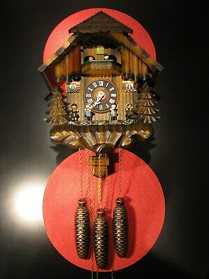 Stunning German Chalet Swiss Musical 8-Day Cuckoo Clock W/ Animation - Works !