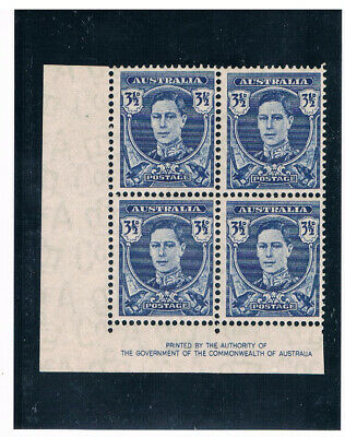 AUSTRALIA 1942 King George VI 3.5p (Block of 4)