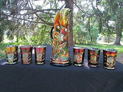 Northwood ORIENTAL POPPY ANTIQUE CARNIVAL GLASS COMPLETE 7 PC. WATER SET~PURPLE