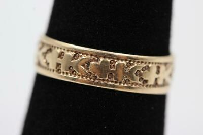 1870s ANTIQUE VICTORIAN 10K SOLID GOLD FANCY DEEPLY ETCHED 4.5MM SIZE 3.5 BAND