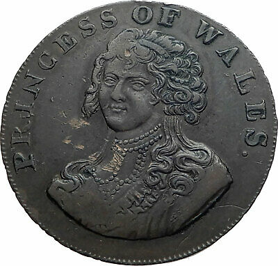 1795 ENGLAND UK Princess of Wales Caroline of Brunswick Conder Token Coin i80291