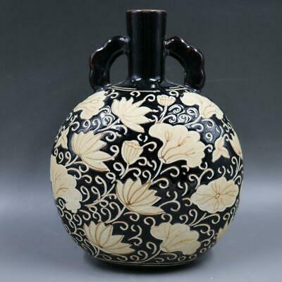 Chinese ancient antique hand make Lotus pattern vase a945