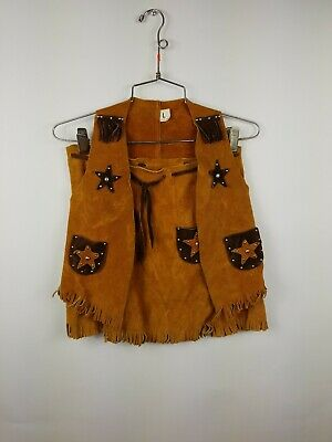 Vintage Leather Cowgirl Outfit Made in USA Size L Child